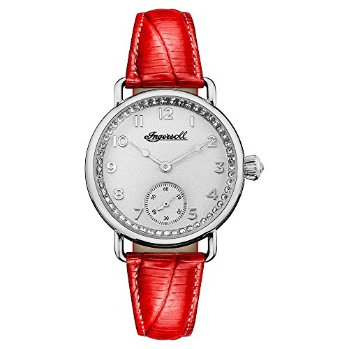 Ingersoll Men's Automatic Stainless Steel and Leather Casual Watch, Color:Red (Model: I03601)