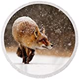 Pixels Round Beach Towel With Tassels featuring ''Fox First Snow'' by Roeselien Raimond