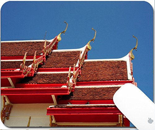 Luxlady Gaming Mousepad 9.25in X 7.25in IMAGE: 34039529 closeup Thai Buddhist temple with the blue (Big Sky Carving)