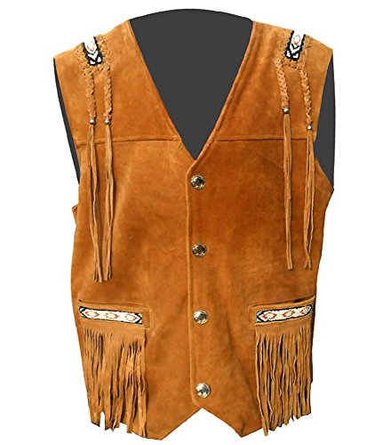 Sleekhides Men's Cowboy Suede Leather Fringed Vest Brown -