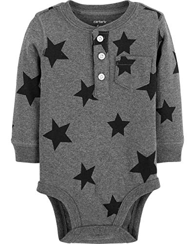 Carter's Baby Boys' Long Sleeve Collectible Bodysuits (Heather/Stars, 6 Months)