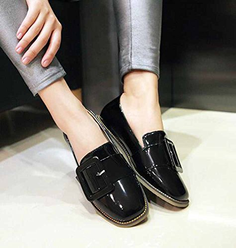 SHOWHOW Womens Casual Solid Buckle Square Toe Buckle Low Top Slip On Heeled Loafers Shoes Black Ncg5q0PzX