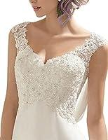 ABaowedding Women's Double V-Neck Sleeveless Lace Wedding Dress Evening Dress
