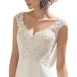 Abaowedding Women's Wedding Dress Lace Double V-Neck Sleeveless Evening Dress