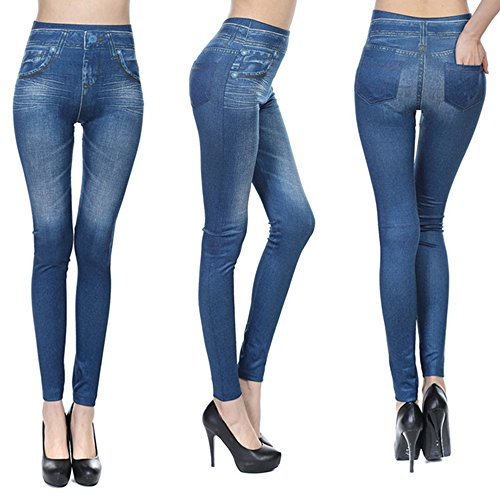 Fashion Jeans for Women, Leggings with Denim Jeans Wash, Stretch Pants, Jeggings (Small / Medium, Blue - Denim Leggings Petite