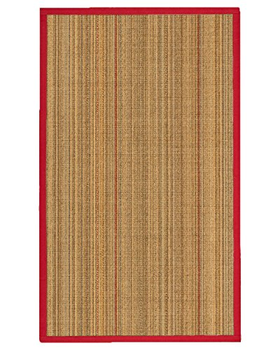 (NaturalAreaRugs Resort Collection Sisal Area Rug, Handmade in USA, 100% Sisal, Non-Slip Latex Backing, Durable, Stain Resistant, Eco/Environment-Friendly, (3 Feet x 5 Feet) Red/Cherry Border)