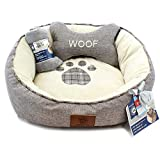American Kennel Club Akc3909Gray 3-Pc Paw Round Pet Bed Gift Set W/Pillow & Throw, Gray