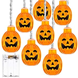 ThxToms Pumpkin String Light, 20 LEDs Battery Powered Jack-O-Lantern for Halloween Party, 6.6ft