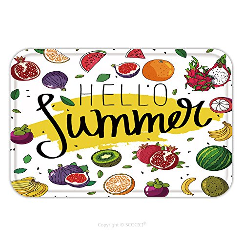 Flannel Microfiber Non-slip Rubber Backing Soft Absorbent Doormat Mat Rug Carpet Quote Hello Summer Fashionable Calligraphy Excellent Gift Card Vector Illustration On White 408840607 for - Sell Cards Gift Australia