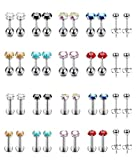 Hanpabum 20 Pairs 16G~20G CZ Stainless Steel Stud Earrings for Men Women Cartilage Earrings Helix Ear Nose Labret Piercing Monroe Lip Rings Tragus Piercing Jewelry