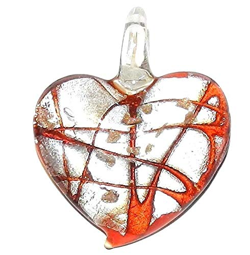 Glass Gold Foil Heart Pendant - Red Swirl Silver Foil w Gold Sparkle 45mm Heart Lampwork Glass Pendant #ID-2611