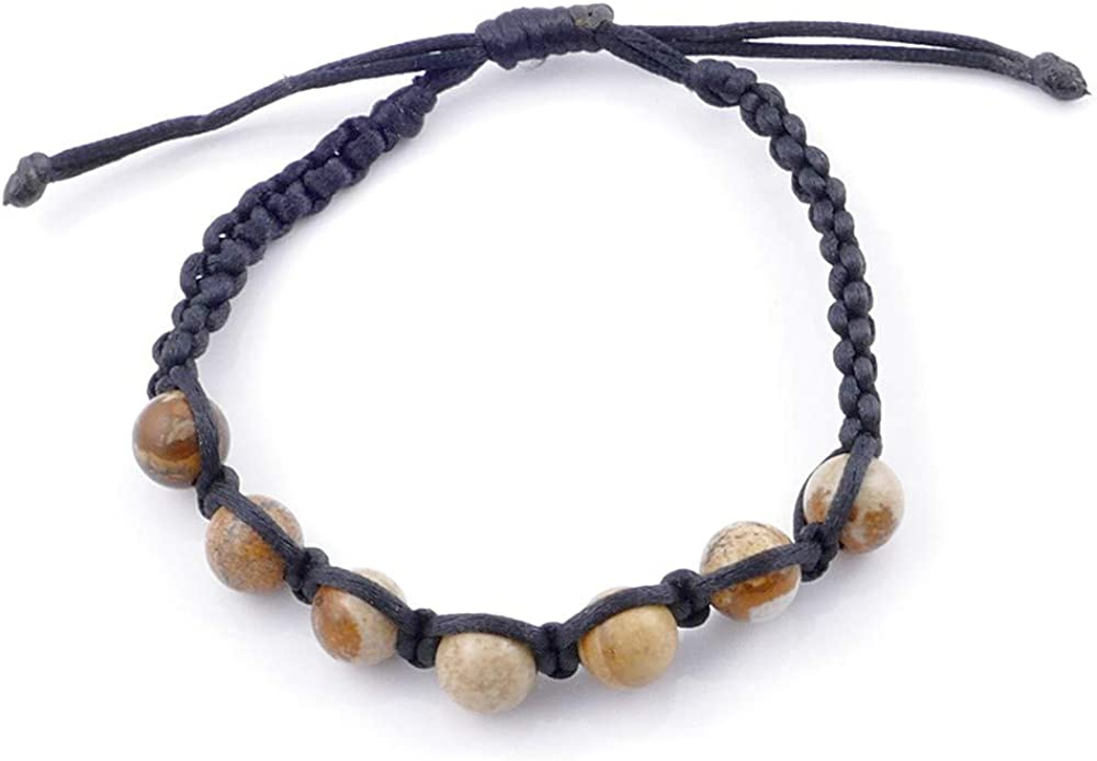 ARITZI – Pulsera con Nudo corredizo con Bolas de Piedra Natural de 8 mm – Distintas Piedras Naturales