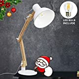 LED Wood Swing Arm Desk Lamp,White Adjustable Reading Lamp, Designer Table Lamps, Classic Study Lamp, Work Lamp, Office Lamp, Bedside Nightstand Lamp with E27 Bulb Eye Prote