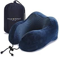 PON Almohada de Viaje Viscoelástica de Espuma de Memoria con Funda Lavable y Bolsa de Viaje Suave para el Cuello Soporte Cervical Ideal para el Uso del Avión y el Hogar