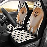 Best Friend and Print Black White Pomeranian Dog Patterns Print Car Seat Covers