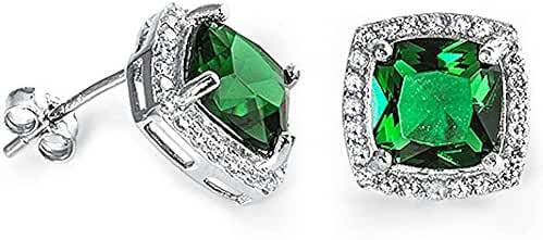 Cushion Cut Simulated Green Emerald & Cubic Zirconia .925 Sterling Silver Earrings