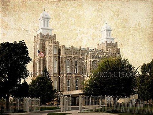 LDS (Mormon) Temple Print (Print Only - 18 x 24, Logan Landscape) - Logan Lds Temple