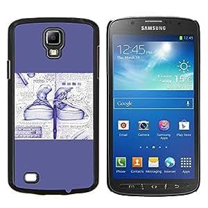 YiPhone /// Prima de resorte delgada de la cubierta del caso de Shell Armor - Zapatillas de deporte del dibujo del arte del bosquejo azul Calzado - Samsung Galaxy S4 Active i9295