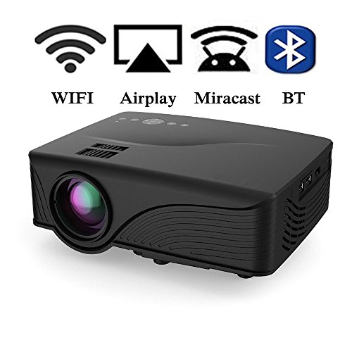 Mini Smart Projector, Gzunelic Android WiFi Video Projector 1080P Home Theater Portable Proyector Compatible with Laptop Fire Stick,PS4,HDMI,VGA,USB, Chromecast