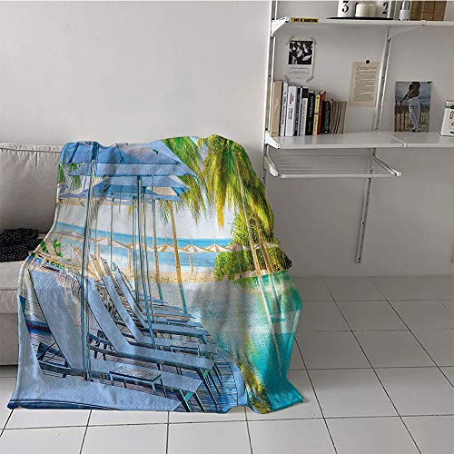 Children's blanket convenience Lightweight All-Season Blanket (50 By 60 Inch,House Decor Collection,Luxury Hotel Pool near Beach Palm Trees Exotic Resort Umbrella Sunbed Chair Picture,Green Aqua)