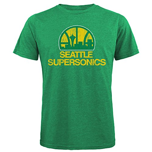 NBA Seattle Supersonics Men's Premium Triblend Crew Tee, Large, Kelly Green