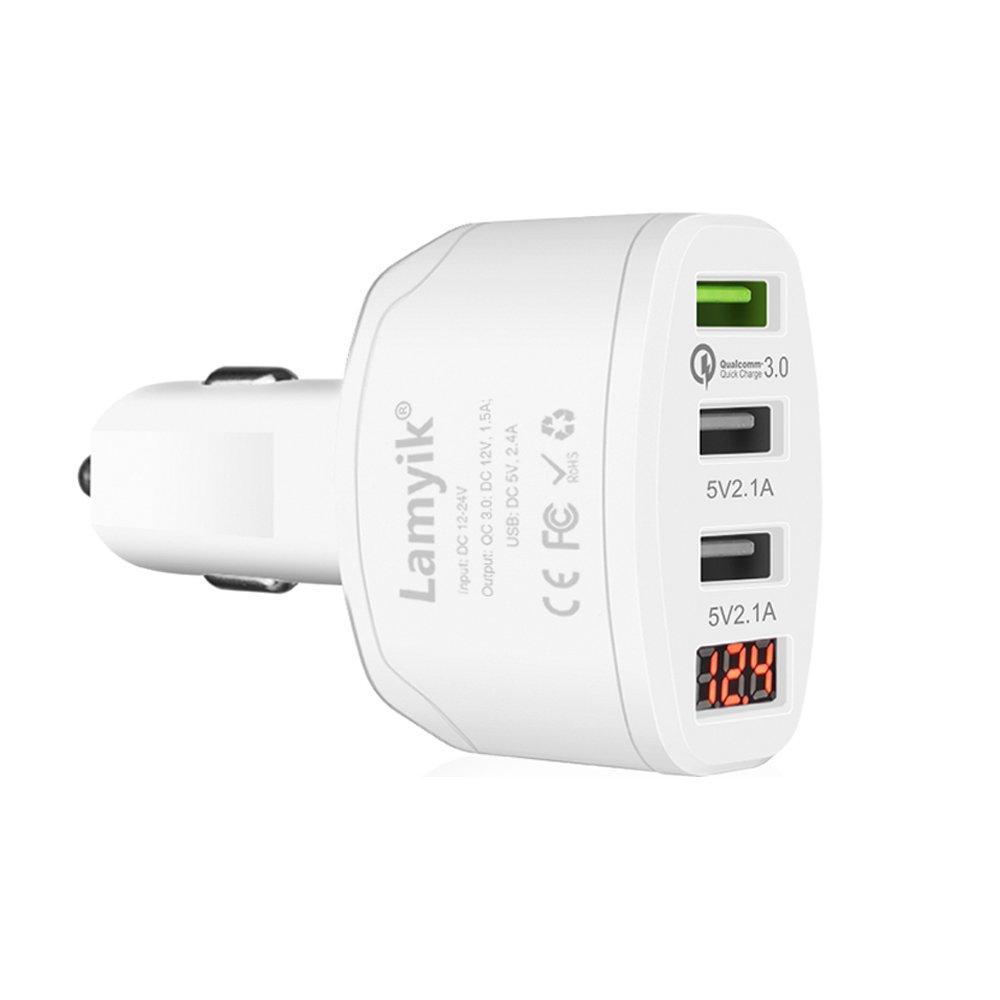 Lamyik - Caricabatterie da auto a ricarica rapida QC 3.0, con 3 porte USB da 5 V e 4,2 A, dotato di display LED (a ricarica intelligente e protezione da sovraccarico integrata), per Galaxy S8/S7, iPhone X/8/7/Plus/6s/6, iPad, LG 2A