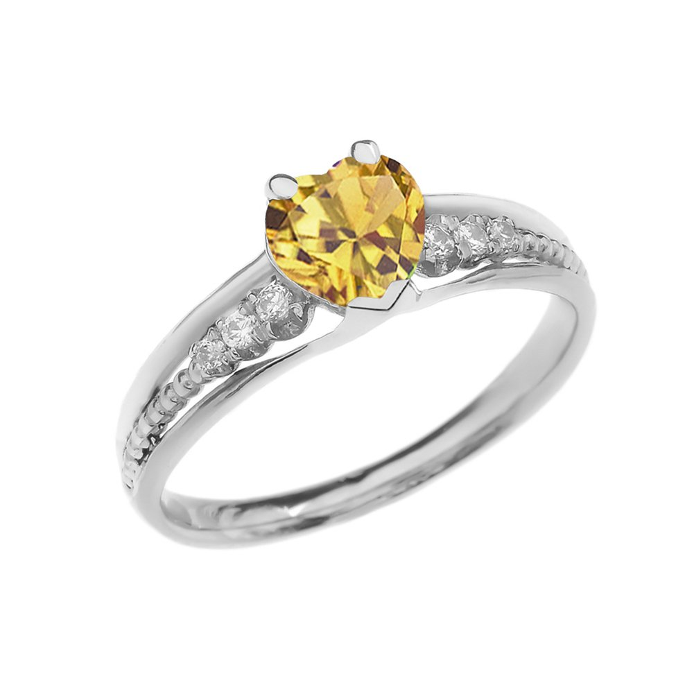 Dazzling 14k White Gold Diamond And Citrine Birthstone Heart Beaded Promise Ring (Size 4.5)