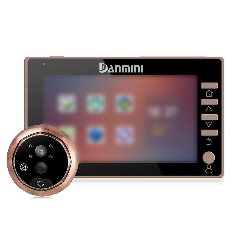 11,4cm vidéo Sonnette Caméra de sécurité Judas numérique avec détection de mouvement PIR Grand Angle de 170degrés vue 2.0MP Caméra HD Vision de nuit, noir HOMYY