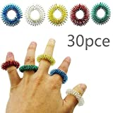 HZT-US 5 Color 30Pce Acupressure Ring Ring Massage Spring Finger Massage Ring Mini Finger Massage Ring