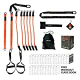 Vulken Suspension Trainer with 3 Pairs of Resistance Bands. CoreSlings Full Body Workouts for Your Home Gym with 3 Bodyweight Training Modes. Including Workout Guide Book.