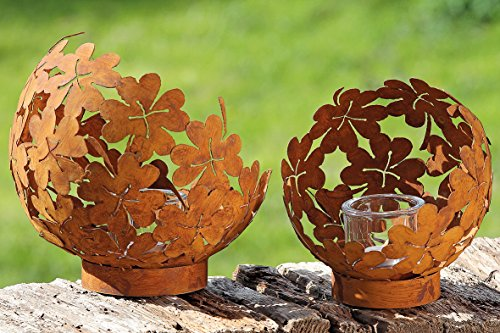 The Boho Chic Flower Power Windlight Hurricane Globes, Set of 2, Rusty Iron Finish, 11 3/4 and 9 Inch Open Ball, plus 3 1/8 Inch Glass Candle Cups, By Whole House Worlds