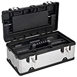 Goplus Portable Tool Box Lockable Cabinet Tools Storage Box Stainless Steel Organizer Toolbox for Home Garage (19-Inch)