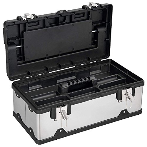 Goplus 19In Portable Tool Box Lockable Cabinet Tools Storage Box Stainless Steel Organizer Toolbox for Home Garage (19-Inch) For Sale