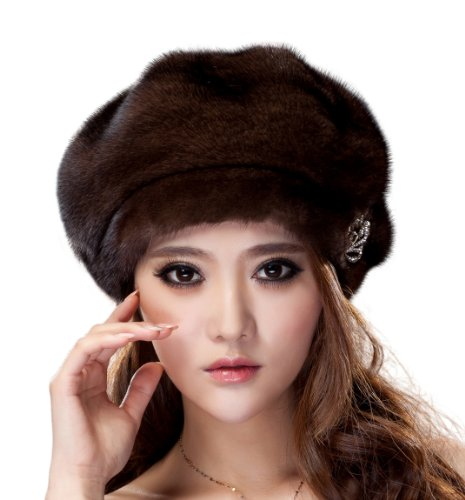 URSFUR Ladier Mink Full Fur Beret Hats (Brown)