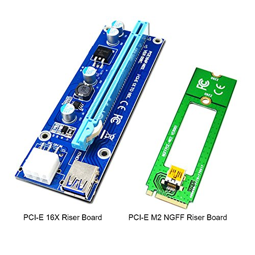 PCI-E riser extender,iGrace 1 Pack M2 NGFF TO 16X PCI-E Mining Powered Riser Card Adapter with 1.96ft USB 3.0 Extension Cable,0.49ft SATA 15 PIN TO 6 PIN Cable PCE164P-N02 VER006C (Blue) by iGrace (Image #3)