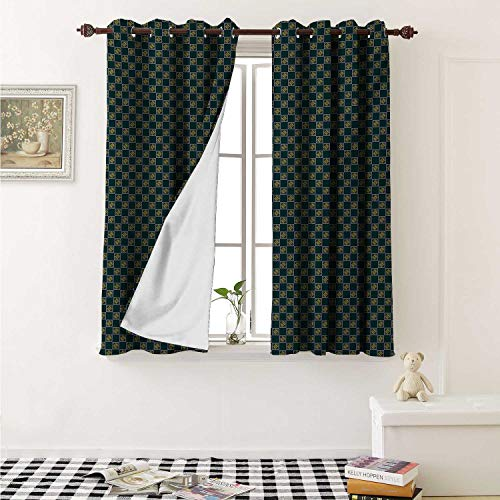 shenglv Retro Waterproof Window Curtain Diagonal Motifs with Swirls and Stars in Square Frames Tile Arrangement Victorian Curtains for Party Decoration W84 x L72 Inch -