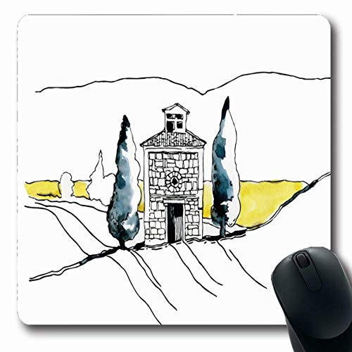 LifeCO Computer Mousepad Olive Watercolor Nature Farm Parks Green Drawing Italian Mediterranean Tuscan Agriculture Cottage Oblong Shape 7.9 x 9.5 Inches Oblong Gaming Non-Slip Rubber Mouse Pad Mat