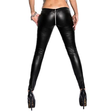 168a18a58 Sexy Zipper Open Crotch Pencil Pants Faux Leather Leggings Gothic Pencil  Hot Pants Black One Size at Amazon Women s Clothing store