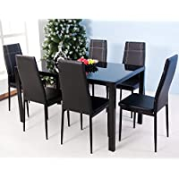 Merax 7-Piece Glass Top Dining Set