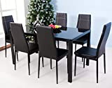 Add some contemporary charm to your home with this 7-piece dining set. The black seat combined with the solid metal frame offers durability that you can enjoy for many years. Six dining chairs and a 55inch dining table provide plenty of space...