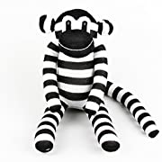 Handmade Black & White Striped Traditional Sock Monkey Doll Baby Gift Toy by SuperSockMonkeys