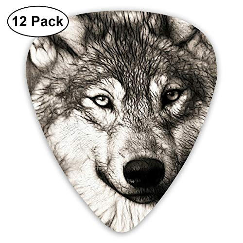 Hand Drawn Wolf Avatar Exquisite Shell Surface Guitar Pick-12 Pieces of Packaging General Purpose