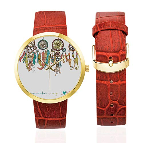 Native American Fashion Women's Golden Leather Strap Watch,Set of Colorful Ethnic Dreamcatchers Native American Tribal Elements in Mod Graphic Decorative for Womans,Case Diameter: 40mm from C COABALLA