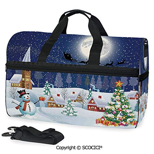 3D Printed Duffel Bag Winter Season Snowman Xmas Tree Santa as a Crossbody bag