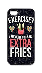 BlackKey exercise i thought you said extra fries Snap-on Hard Back Case Cover Shell for iPhone 5 5G 5s -3096