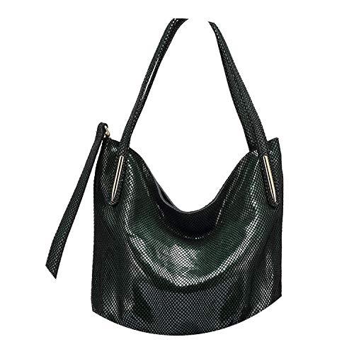 pursuit-of-self women genuine leather shoulder bag,Dark Green,China