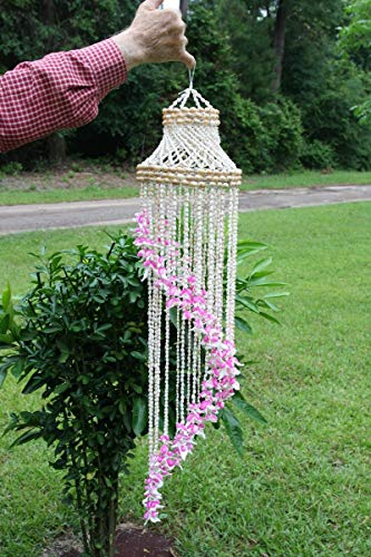 Salty Pelican Large Seashell Wind Chime, Cascading Tiers of Dense Seashells, 36