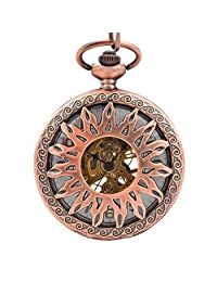 Timeconcept Antique Style Hot Sale Hand Wind Copper Tone Mechanical White Dial Men Women Pocket Watch W/Chain Nice Gift
