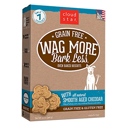 Cloud Star Wag More Bark Less Grain Free Oven Baked Treats with smooth Aged Cheddar -14 oz