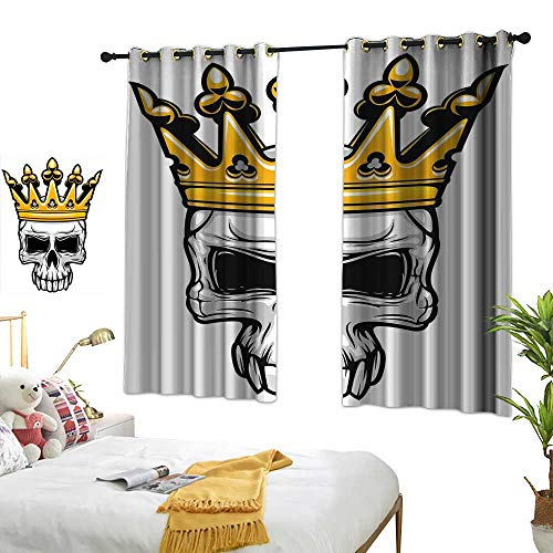 (RuppertTextile King Queen Size Blackout Curtains Hand Drawn Crowned Skull Cranium with Coronet Tiara Halloween Themed Image 55